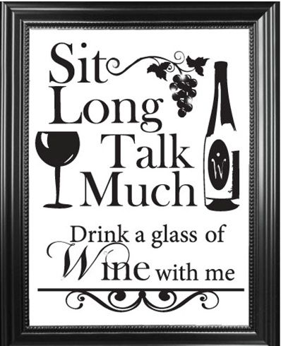 """Sit Long, Talk Much Drink a Glass of Wine with me..."" Swarovski Sign"