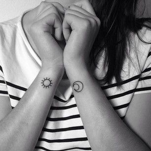 A sun and moon: | 65 Totally Inspiring Ideas For Wrist Tattoos