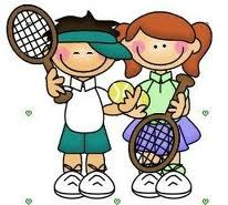 Two children playing tennis.