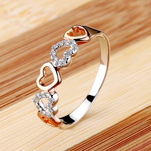 New Romantic Heart Cubic Zirconia 925 Silver Plated Gold Women's Ring