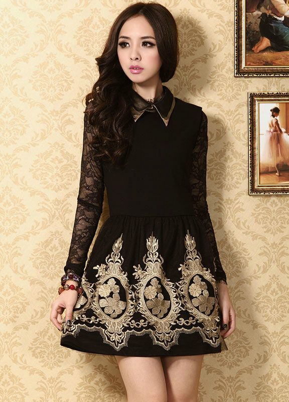Elegant Black and Gold Lace Embroidered Party Dress ...