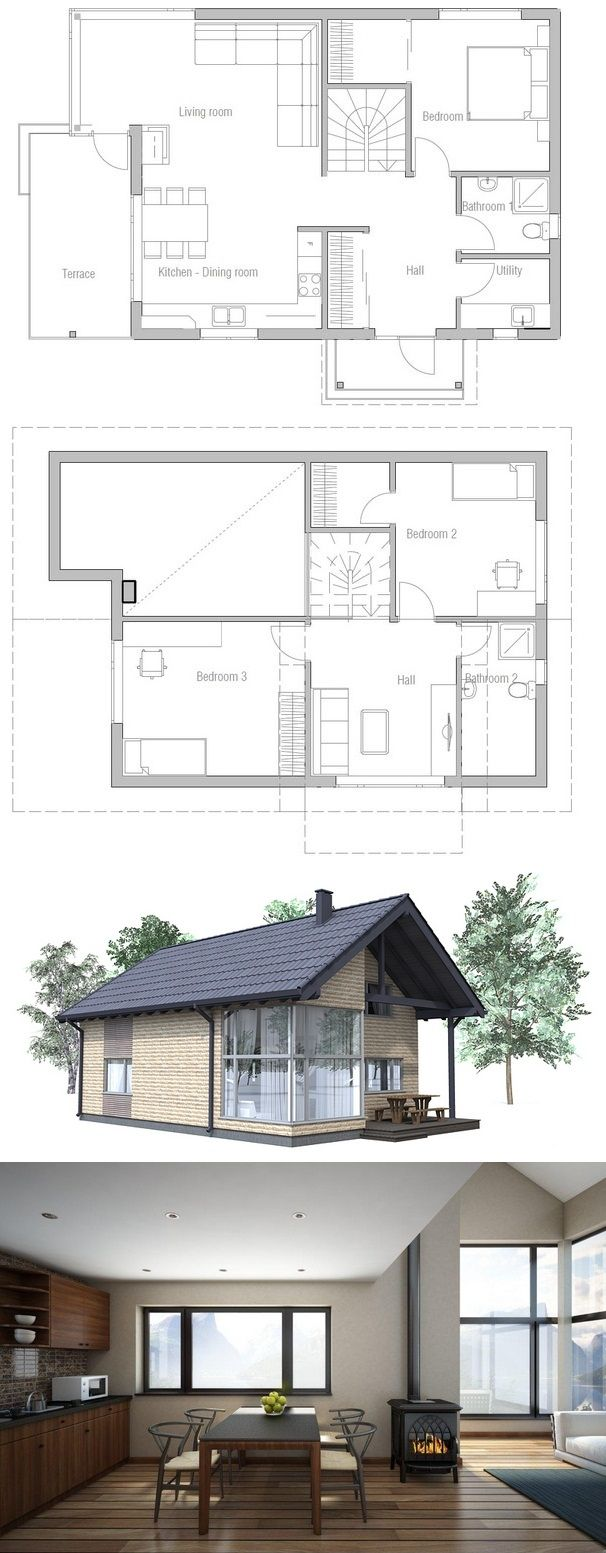 119 best houseplans 3 bedroom images on pinterest small house 1367 sq ft 3 bed 2 bath 2 story plans from concepthome