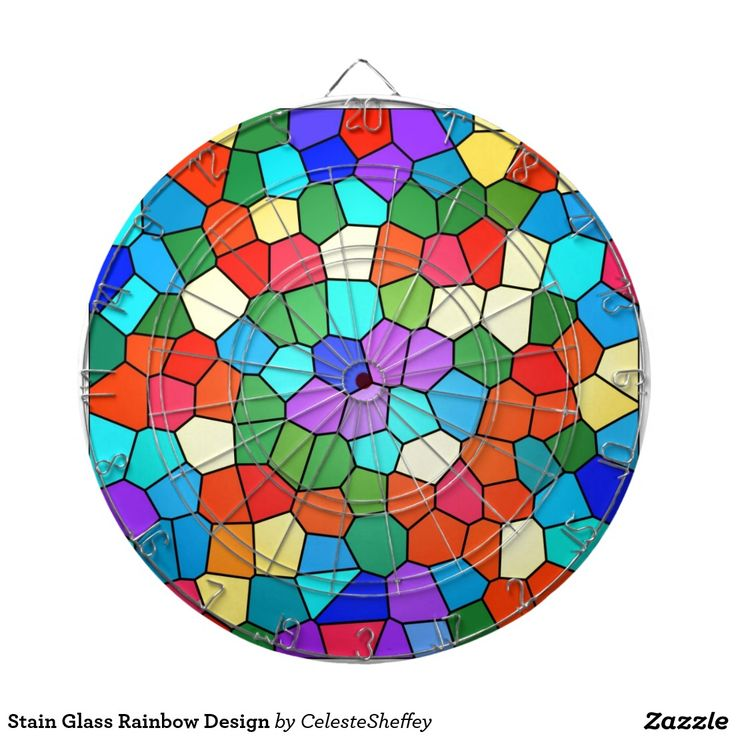 Stain Glass Rainbow Design Dart Board