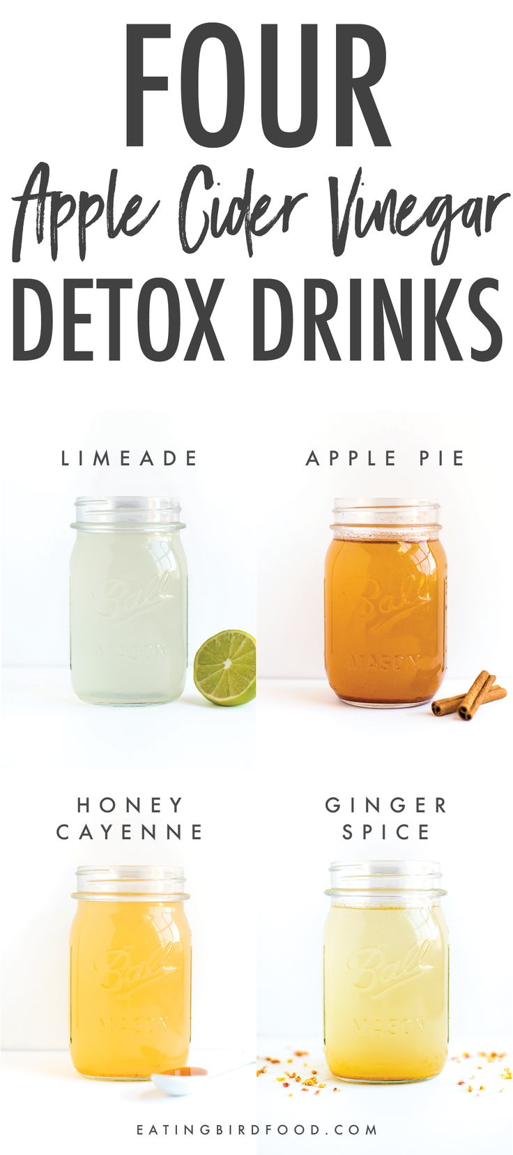 Apple cidervinegar detox drinks you'll actually enjoy drinking. Four flavors including: Limeade, Ginger Spice, Honey Cayenne and Apple Pie.
