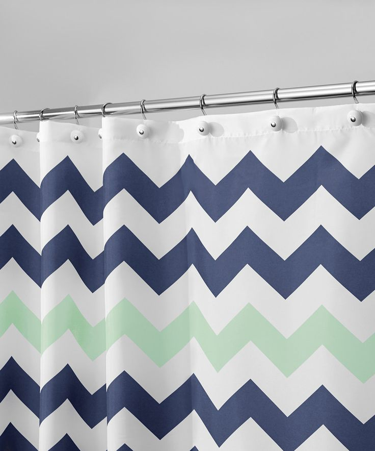 Another great find on #zulily! Navy & Mint Chevron Shower Curtain by InterDesign #zulilyfinds