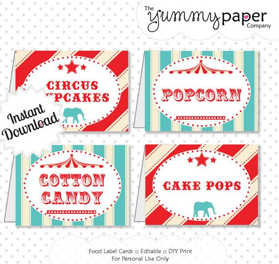 Editable Vintage Circus Party Food Labels - Instant Download - Editable PDF .. svc01 Signature Collection on Etsy, $3.00