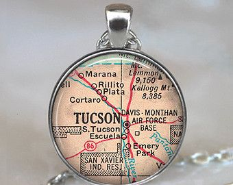Tucson map necklace, Tucson, Arizona, Tucson map pendant, Tucson pendant map jewelry Tucson keychain key chain key fob