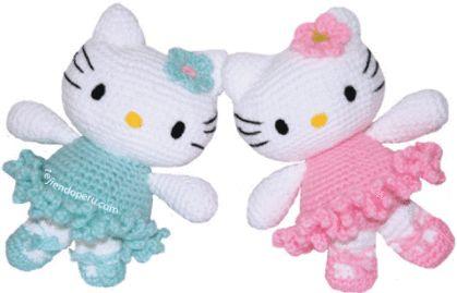 Tutorial: hello kitty dancer woven crochet (amigurumi) - Hello kitty ballet dancer