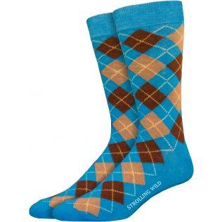 Turquoise, Brown & Tan Argyle Socks for Men