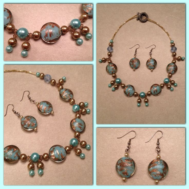 Beautiful blue and gold necklace! Sparkle through the blue