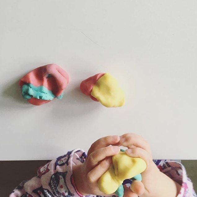 You can never have too much playdough! Great for sensory experiences and fine motor skills! Image via @playful_wren. #YoungAcademics #earlylearning