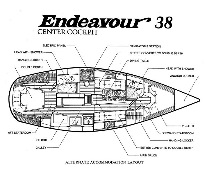 Murray Yacht Sales, Endeavour 38 Center Cockpit Information Page, Used Sailboat, Layout, Brochure, Sail Plan, Specs, Draft, Mast