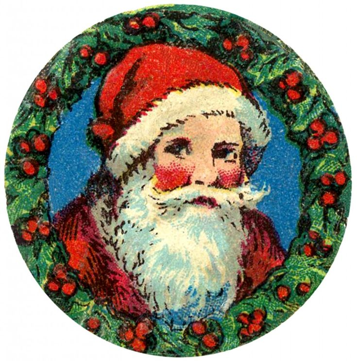 Free Christmas Images for Cards - Santa - Holly