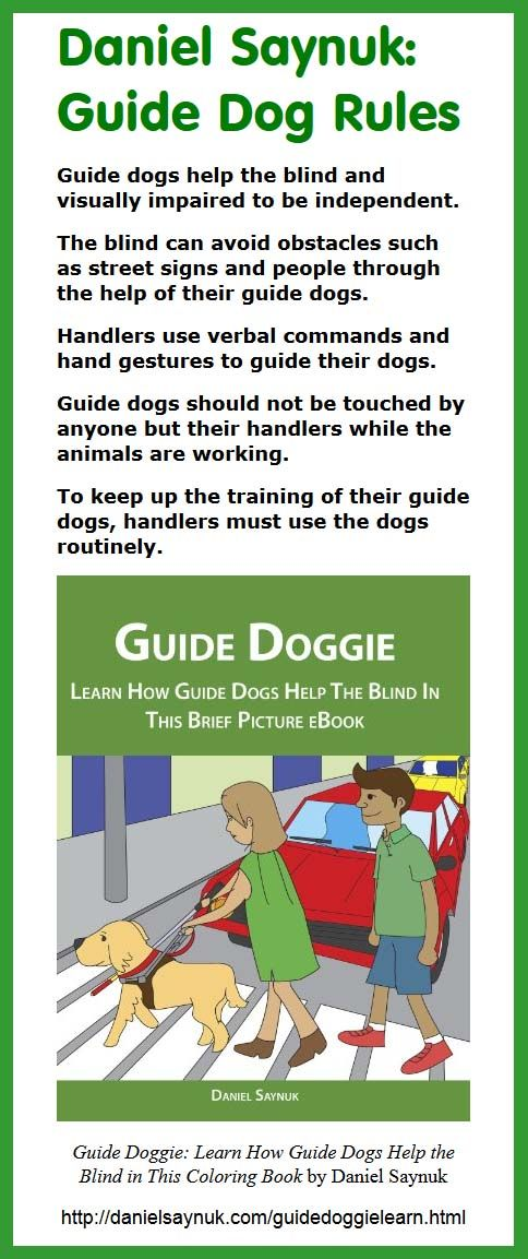 Guide Doggie Learn How Dogs Help The Blind In This Coloring Book By Daniel Saynuk