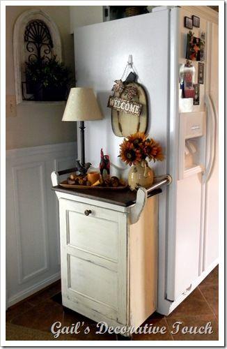Trash can cabinet alongside the refrigerator (idea for Jason's kitchen).