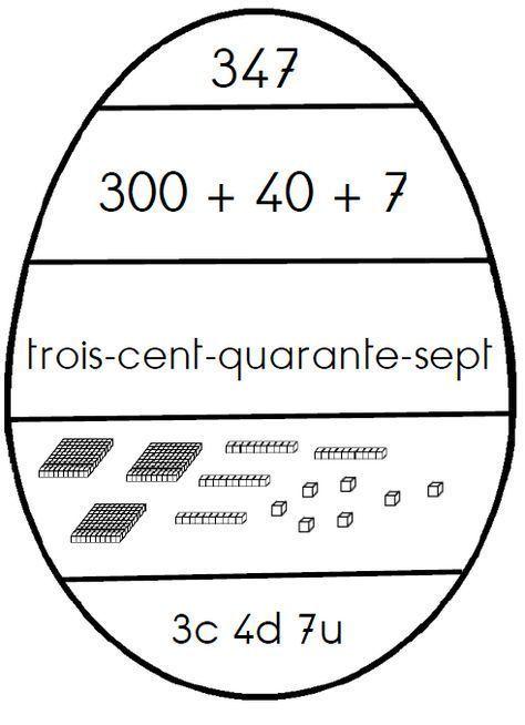 Jeu de mathématiques - Les œufs de numération jusqu'à 599