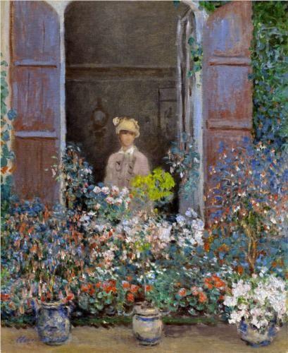 """Camille Monet à la fenêtre"", pintura de 1873 de Claude Monet. Veja também: http://semioticas1.blogspot.com.br/2012/12/inventando-abstracao.html"