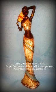Arte y Manualidades Tellez: FIGURA AFRICANA DECORADA