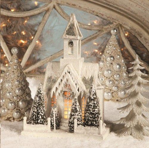 Bethany Lowe Christmas Ivory Large Church