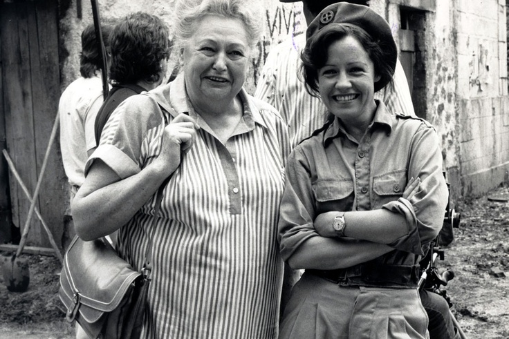 Nancy Wake with actress Noni Hazelhurst on the set of the 'Nancy Wake' Mini-series in the 1980s.