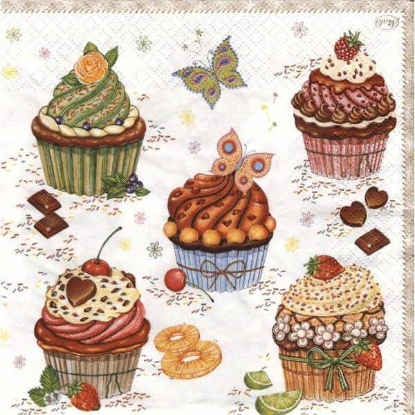 Cupcake Art Vintage : 370 best images about CUPCAKES (DeCOUPAGE, IMAGES, WORKS ...
