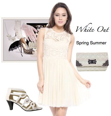 #whiteout #springcolour #white #springsummer #fashion #femmeconnection #collection #instore #whitelace #dress #fitandflare #sweetheart #neckline #sleeveless #channelinspired #kittenheel