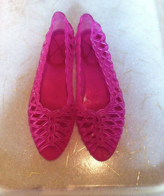 Jelly Jellies Shoes Sandals Plastic Flats Peep Toe Woven Pink Transparent 1980s 80s 90s 1990s Retro Hipster Kitsch Kitschy Size 6