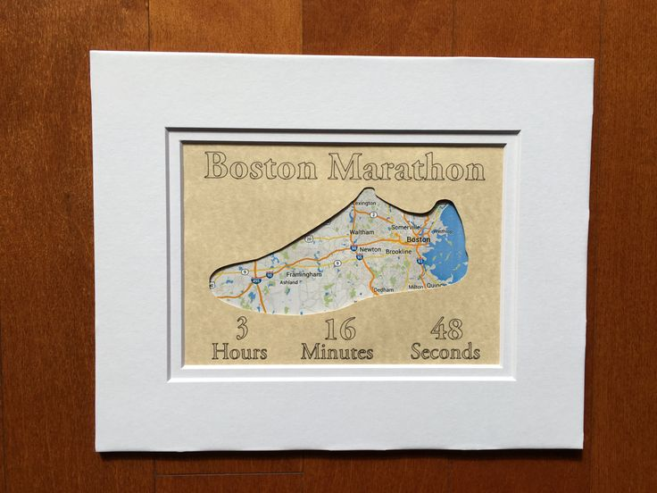 Personalized Boston Marathon Race Map with printing and cut outs - Custom Paper Map Matted Art Gift for Runners by InStrideDesigns on Etsy