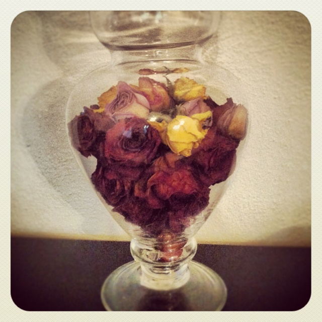 Store dried flowers in apothecary jars to preserve the