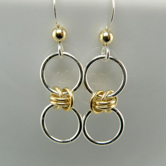 """..""""Tiny Sterling Silver and 14K Gold Fill Bubble Earrings"""" by WovenChains"""
