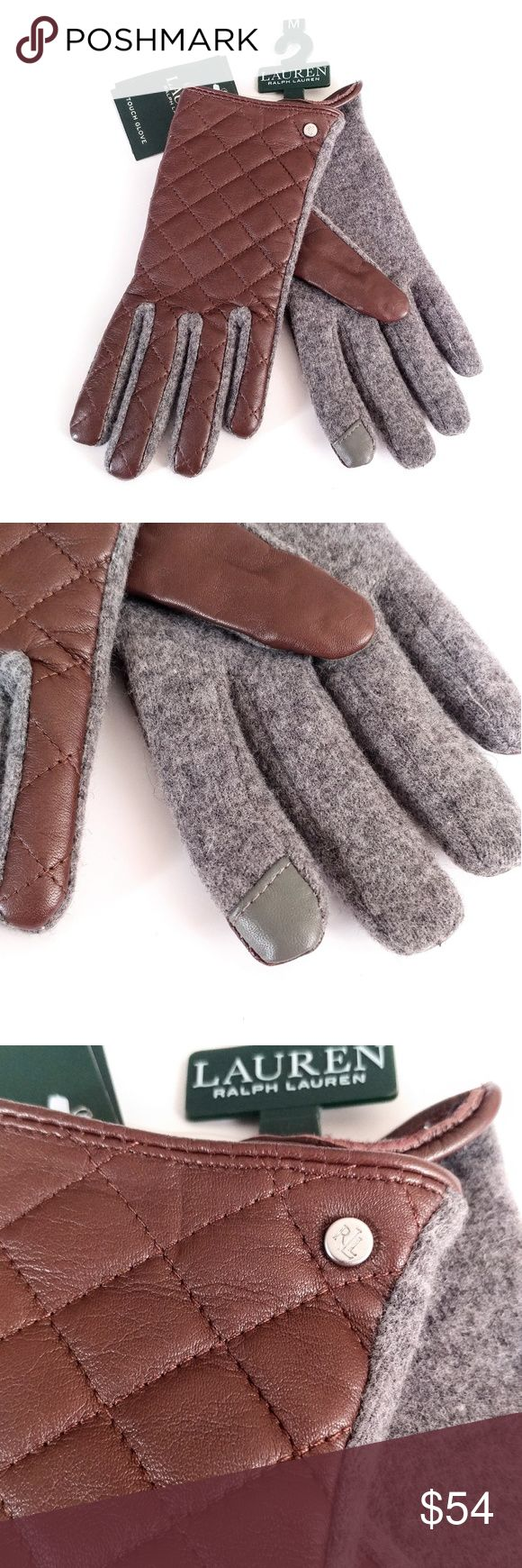 Lauren Ralph Lauren Brown Quilted Touch Gloves Front: 100% Sheep leather. Back: 80% Wool / 20% Nylon. Hardware logo. Touch screen technology allows you to use your touch screen devices without removing your gloves. Last picture of small defect on left glove. It is where the tag goes. Lauren Ralph Lauren Accessories Gloves & Mittens