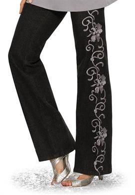 Embroidered Jeans by denim 24/7 | Plus Size Holiday Sale | Roamans