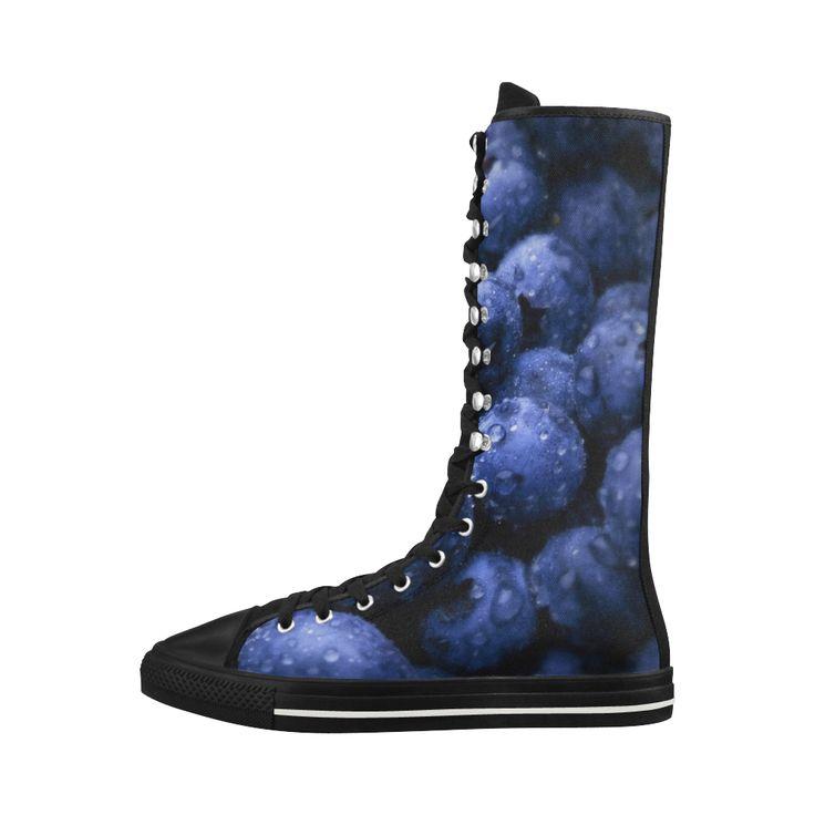 Blueberries Canvas Long Boots For Women  #erikakaisersot #artsadd