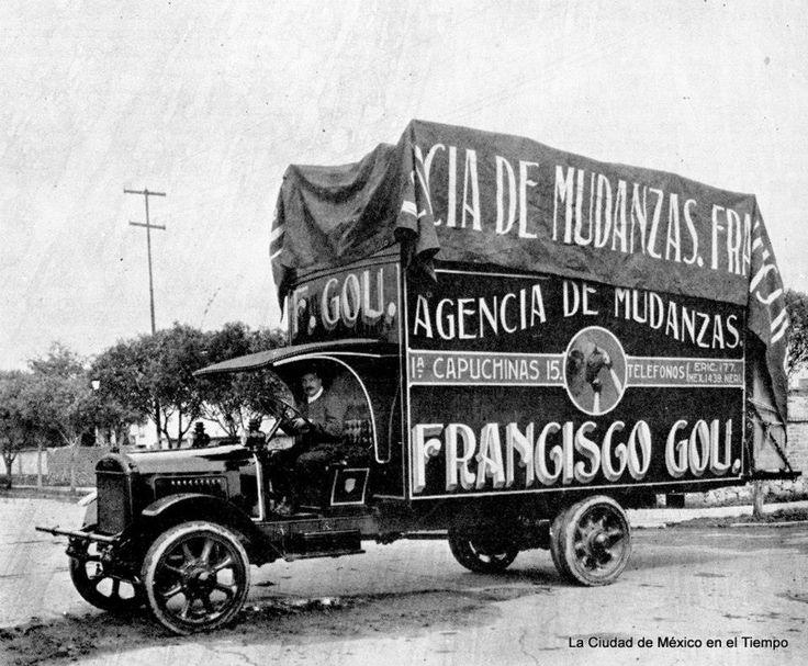 Camion de la agencia de mudanzas Francisco Gou en 1921 en la Cd. de Mexico