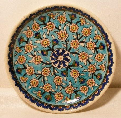 Antique Turkish Handmade Painted Ceramic Wall Plate