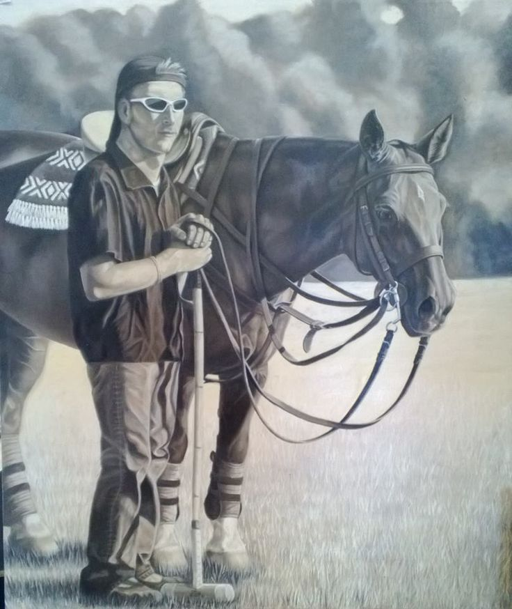 Polo Player {2nd in Series} ~ Block Mounted Oil Painting by Dawn Du Preez #DawnDuPreez