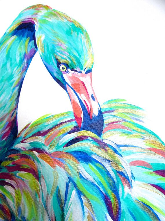 Colorful Flamingo Painting 1224 by Kelsey by CreatedbyKelseyArt