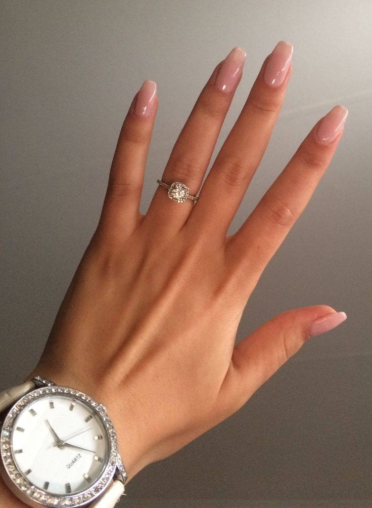 Nude pink coffin nails