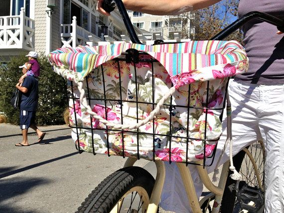 Beach Bicycle Basket Liner / Shoulder Bag by shopperdesign on Etsy, $68.00