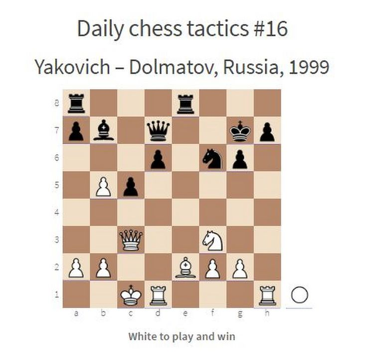 Daily chess tactics # 16. This one is really tricky :)  White to play and win  Complete list of daily chess tactics:  http://www.chessentials.com/list-o... - Chessentials - Google+