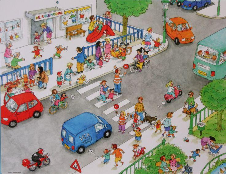 Praatplaat Bas - De school is uit / verkeer (getekend door Dagmar Stam)