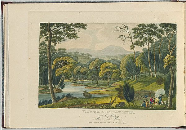 Joseph LYCETT    View upon the Nepean River, at the Cow Pastures, New South Wales. 1825  intaglio etching and aquatint, printed in black ink, from one copper plate; hand-coloured