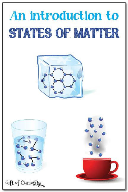 Ideas for introducing the three primary states of matter (solids, liquids, gasses) to young children.