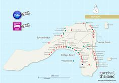 Arrival Thailand Ko Lipe map with restaurants, hotels and other places to visit at the location