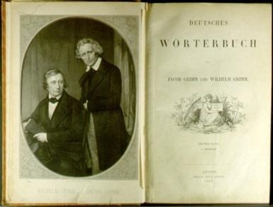 Folha de rosto do Dicionário da Língua Alemã de Jacob Grimm e Wilhelm Grimm.