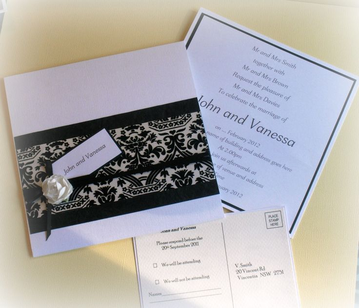 Classic Black and white demask wedding invitations made by D'lish Cupcakes & Accessories
