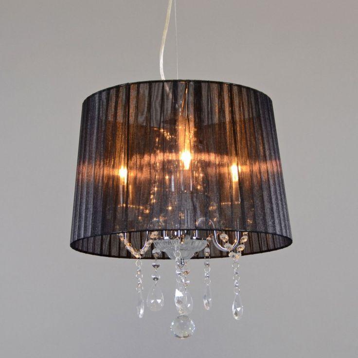 lmpara colgante annkathrin cromo pantalla negra iluminacin para comedor iluminacin por