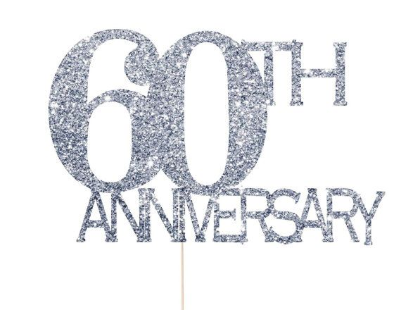 60th Anniversary Cake Topper Decorations Wedding Diamond Party