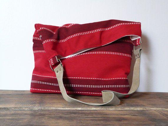 Linen Tote bag leather strap Marketbag Shopping bag beach bag striped linen canvas