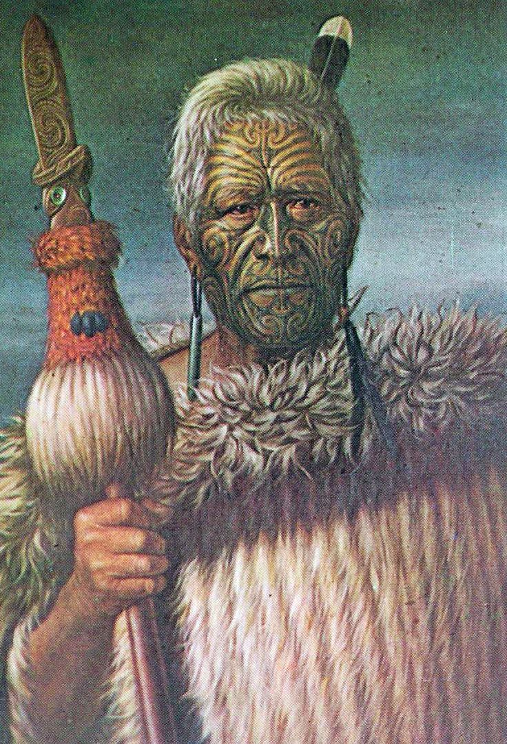 New Zealand | Harawira Te Mahikai, chief of the Ngati Kahungunu tribe, wearing his cloak and holding his taiaha or challenge stick.  Portrait by NZ Lindauer, photographed by Gladys Goodall ~ scanned postcard